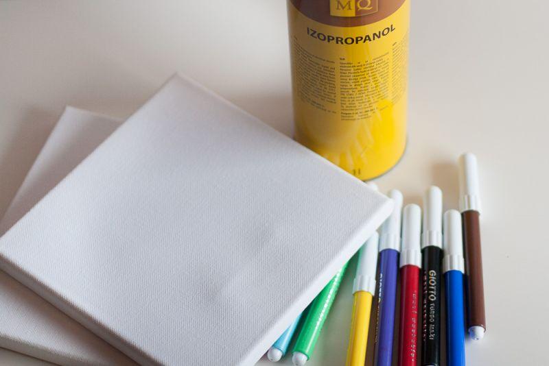 Akril na platnu s flomastri in čistilniom alkoholom
