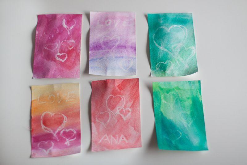 Valentinove voščilnice z vodenimi barvicami