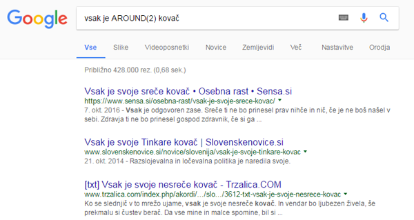 Google iskanje AROUND