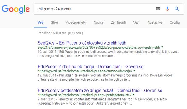 Google izključitev