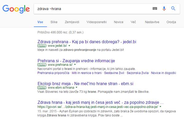 Google iskanje sinonimi