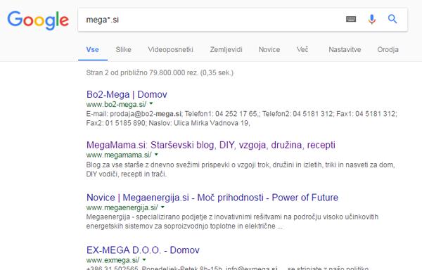 Google iskanje zvezdica