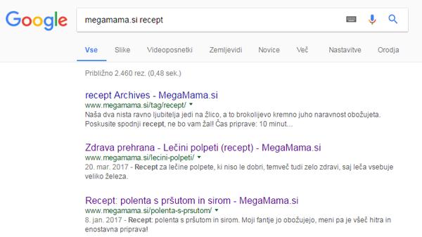 Google iskanje spletna stran
